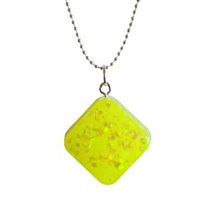 Neon yellow faux opal diamond on silver necklace